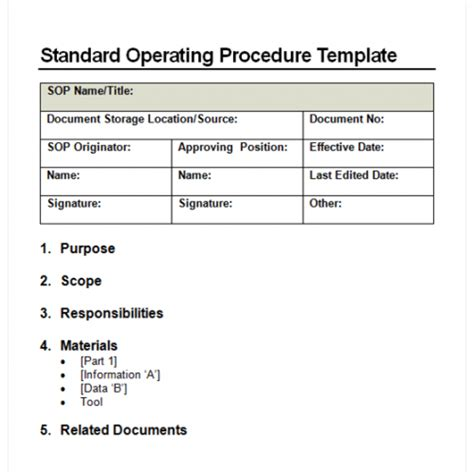 sop template free 9 standard operating procedure sop templates word excel pdf formats