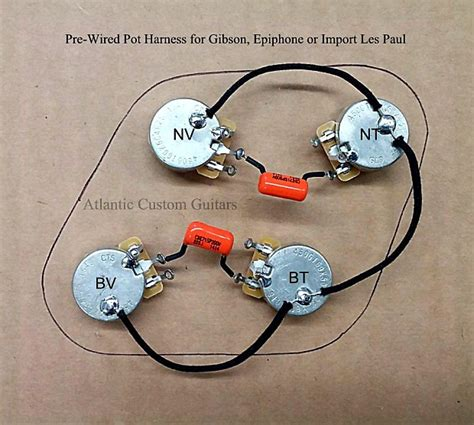 upgraded 50s style wiring harness fits les paul cts 500k reverb