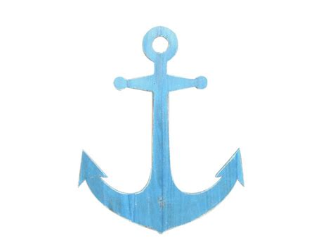 buy wooden rustic light blue wall mounted anchor