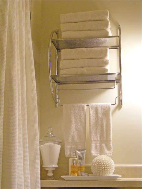 Towel Rack Ideas For Small Bathrooms by 62 Bathroom Shelves With Towel Bar Brushed Nickel