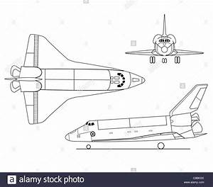 3 view aircraft line art drawing STS-Space Shuttle Stock ...