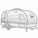 Coloring Camping Pages Printable Zentangle Camper Caravan Colouring Adult Trailer Sheets Books Mandala Camp Etsy Colour Patterns Quilt Campers Theme sketch template