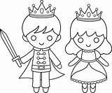 Prince Princess Coloring Clipart Crown Pages Drawing Printable Line Clip Drawings Simple Sweetclipart Disney Balck Fairy Princesses Pilgrim Transparent Templates sketch template