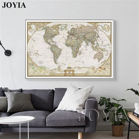 Vintage Map Living Room by World Map Painting Canvas Prints Large Wall Europe