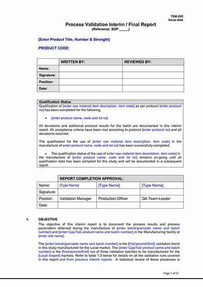 Validation Process Report Template Templates Allbusinesstemplates