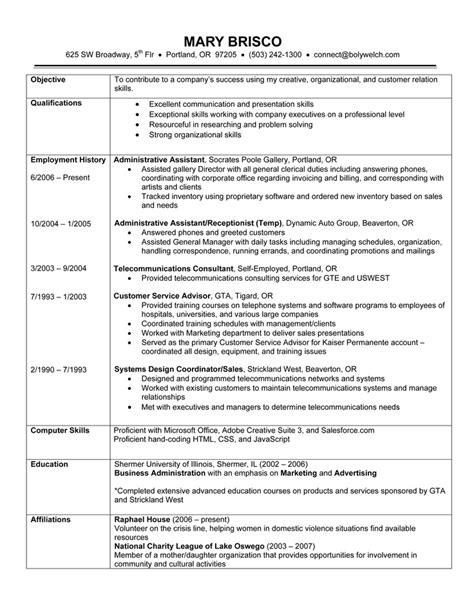 resume order of experience chronological resume exle a chronological resume lists your work history in order