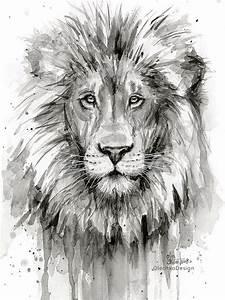 Tableau Lion Noir Et Blanc : lion peinture aquarelle lion noir et blanc impression dart ~ Dallasstarsshop.com Idées de Décoration