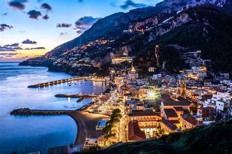 Sunset In Positano Amalfi Coast Italy Stock Photo