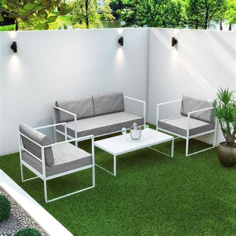 4 white metal patio garden furniture set with table