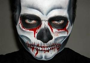 Maquillage Squelette Facile : comment faire le coloriage de halloween pour le visage ~ Dode.kayakingforconservation.com Idées de Décoration