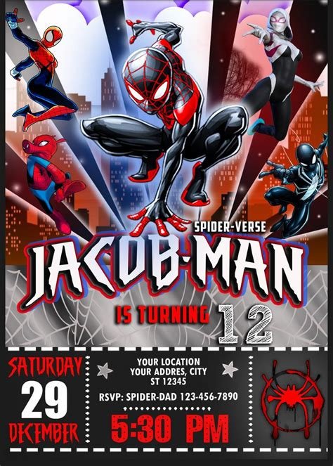 spider man   spider verse birthday invitation