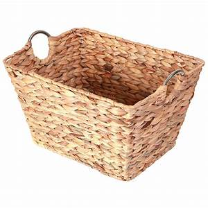 Large, Square, Water, Hyacinth, Wicker, Laundry, Basket, Brown