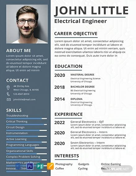 cv format for fresher electrical enginer free electrical engineer fresher resume template 2198 resume templates in psd word