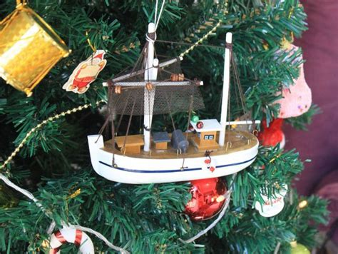 Fishing Boat Ornament by Wooden Fishing R Us Model Fishing Boat Tree Ornament