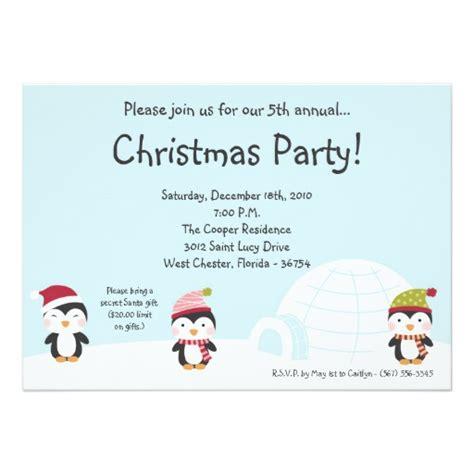 5x7 penguins igloo christmas party invitation zazzle