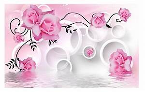 Pink rose wallpaper flower 3d 3d wall murals wallpaper 3d ...