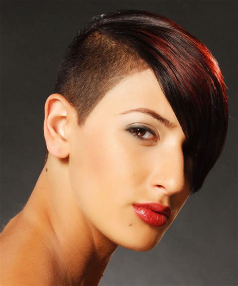 short straight alternative undercut hairstyle with side