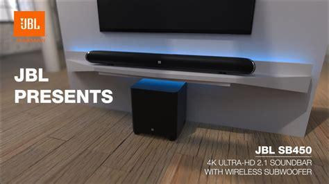 wall mounted jbl cinema sb450 4k ultra hd soundbar with wireless