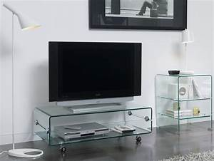 Banc Tv En Verre Transparent Design Clarity