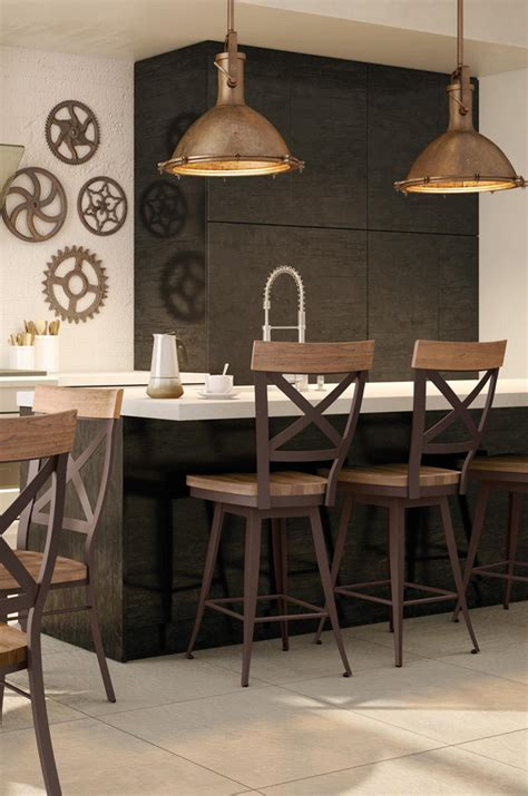 amiscos kyle swivel counter stool  distressed wood seat
