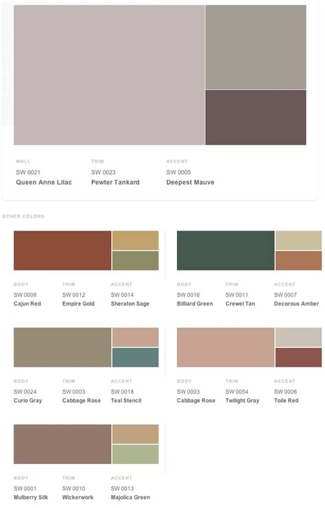 historical shades of interior paint colors from