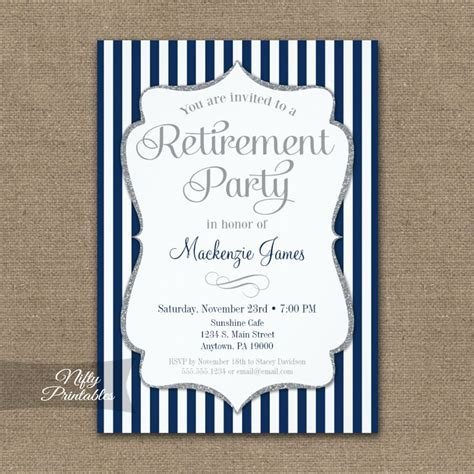retirement invitation navy blue silver printed nifty
