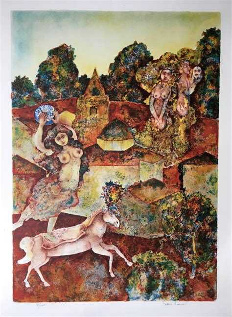 Untitled by artist Sakti Burman - Fantasy, Printmaking ...