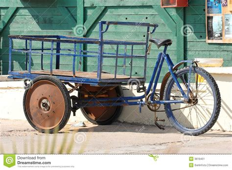Modified Bicycle Price by Modified Bicycle With Cart Stock Image Image Of Blue