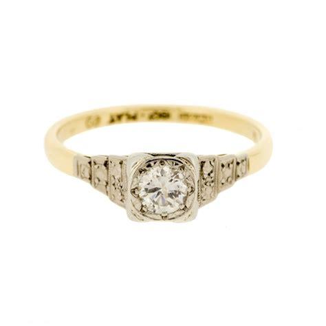 deco ring 18k gold platinum deco solitaire ring