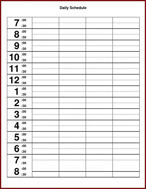 schedule template hourly printable schedule template