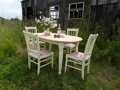 oval pine farmhouse table and 4 chairs painted vintage