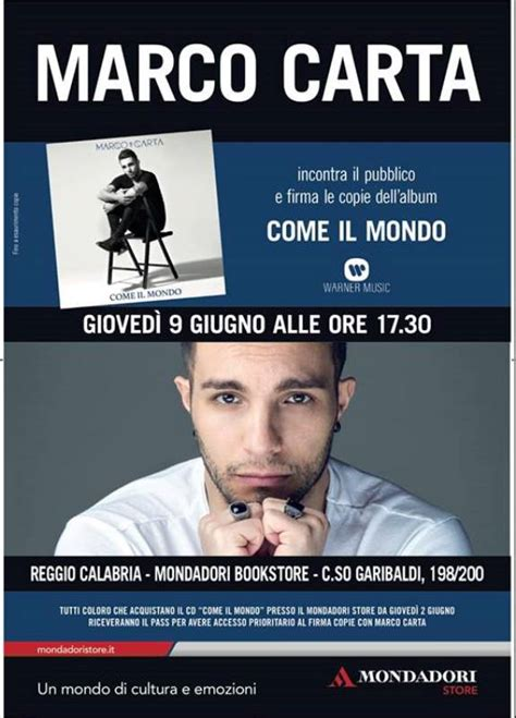 Libreria Mondadori Messina by Reggio Calabria Marco Carta Alla Libreria Mondadori