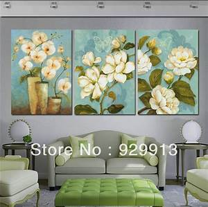 Framed panel large white flower painting piece canvas