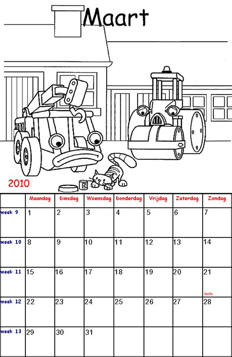 Kleurplaat Kalender Maart by Bob De Bouwer Kalender Kleurplaten