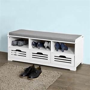 Meuble A Chaussure Banc : sobuy fsr36 w meuble d 39 entr e banc de rangement chaussure avec coussin rembourr 3 ~ Preciouscoupons.com Idées de Décoration