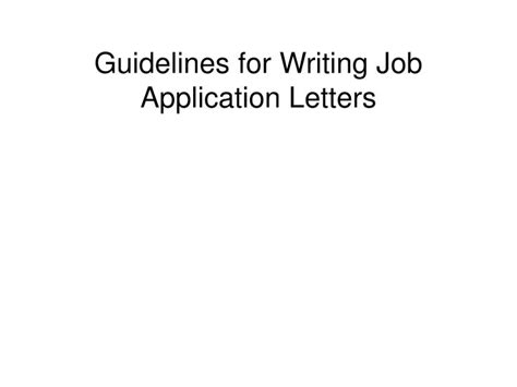 guidelines  writing job application letters