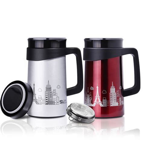 500ml Thermos Cup Stainless Steel Thermos Coffee Mug Drinkware Tea Infuser Cup Vacuum Mug With