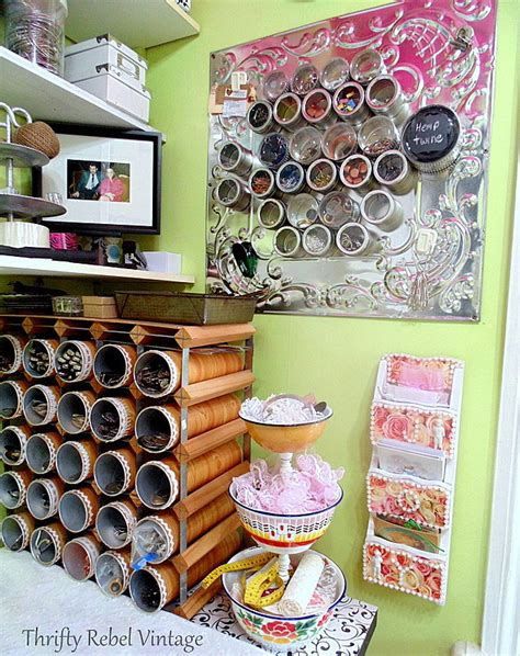 Repurposed Craft Room Wall Organizer  Thrifty Rebel Vintage