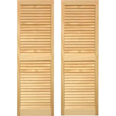 wooden shutters interior home depot shop pinecroft 2 pack unfinished louvered wood exterior shutters common 15 in x 80 in actual