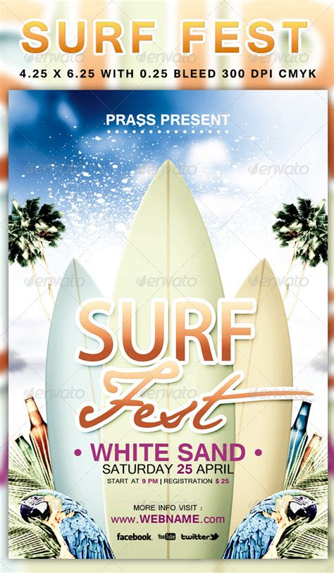 surf fest flyer template  prassiod graphicriver