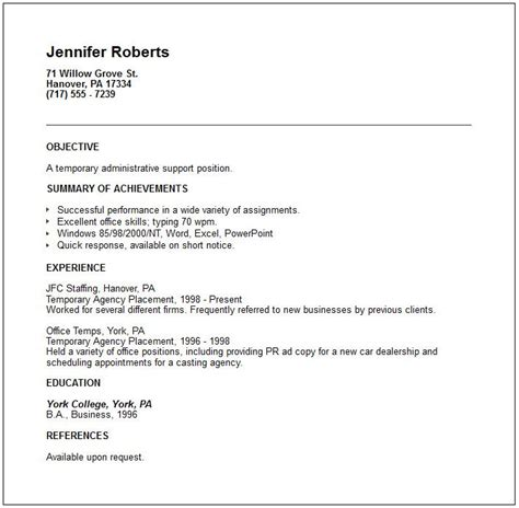 Free Resume Temp by Exles Of A Resumes Temporary Placement Agency