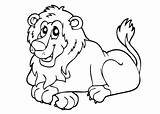 Lion Coloring Pages Children Simple Printable Animals Justcolor sketch template