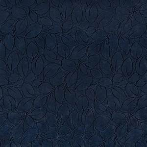 Navy Blue Leaves Microfiber Upholstery Fabric By The Yard