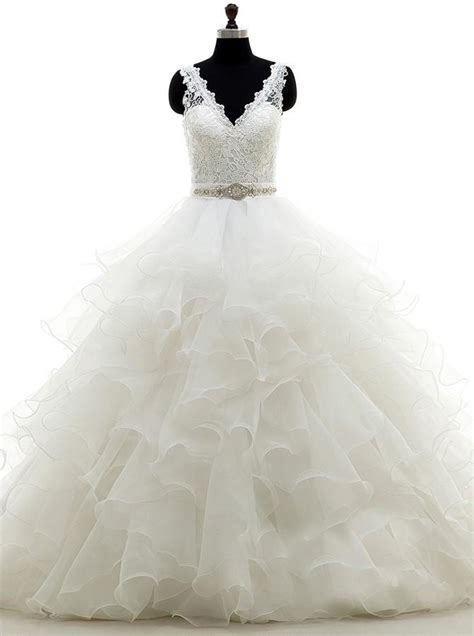 white ball gownruffled organza wedding dressbackless