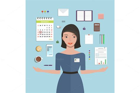bureau am駭agement office manager and supplies illustrations on