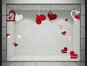 Vitrine Saint Valentin : stickers coeurs ruban stickers pour la d coration de vitrines de magasins ek d coration ~ Louise-bijoux.com Idées de Décoration