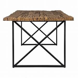 Esstisch Tischplatte Aus Altholz Tisch Schwarz Im