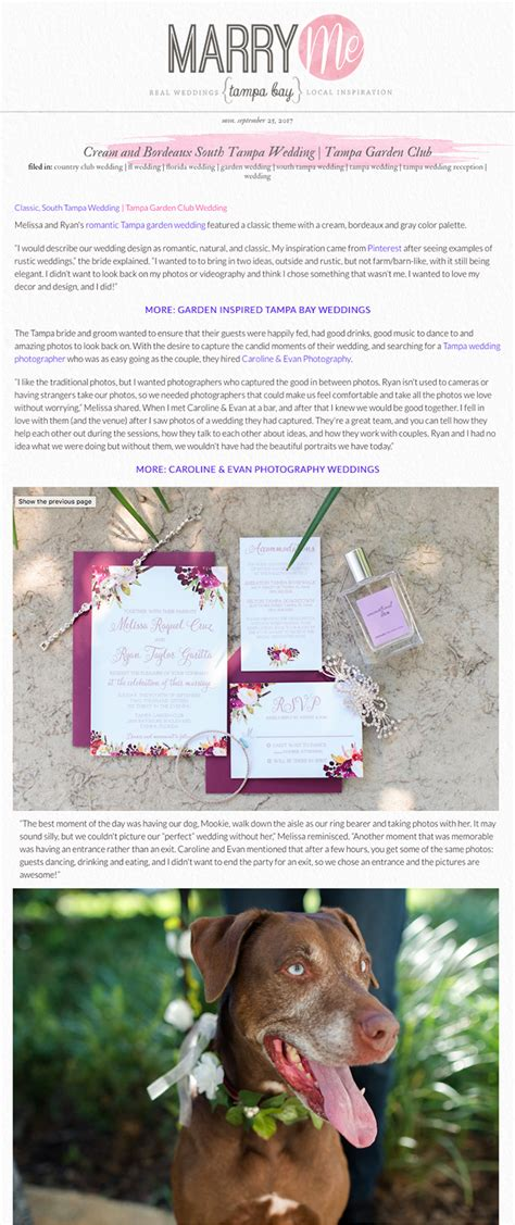 published garden club wedding on marry me tampa bay