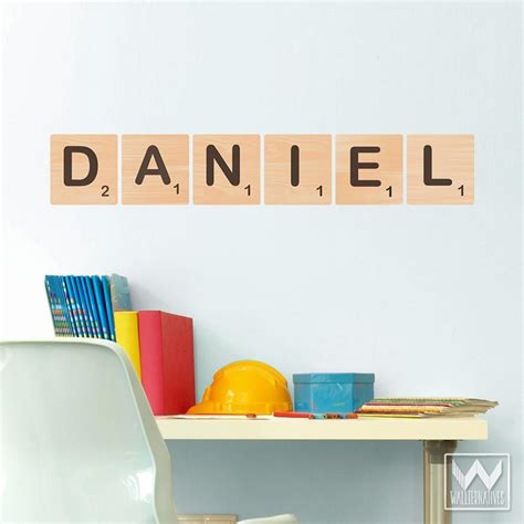letter decals for walls scrabble alphabet letter tile removable wall decal for
