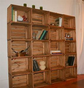 Sale wooden crate bookshelf bookcase storage solution for Barnwood shelves for sale